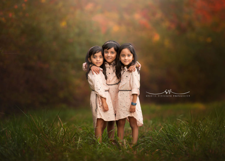 Triplet Sisters Fall Photoshoot