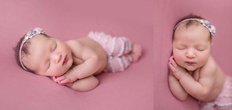 baby girl on pink hyderbad newborn photography